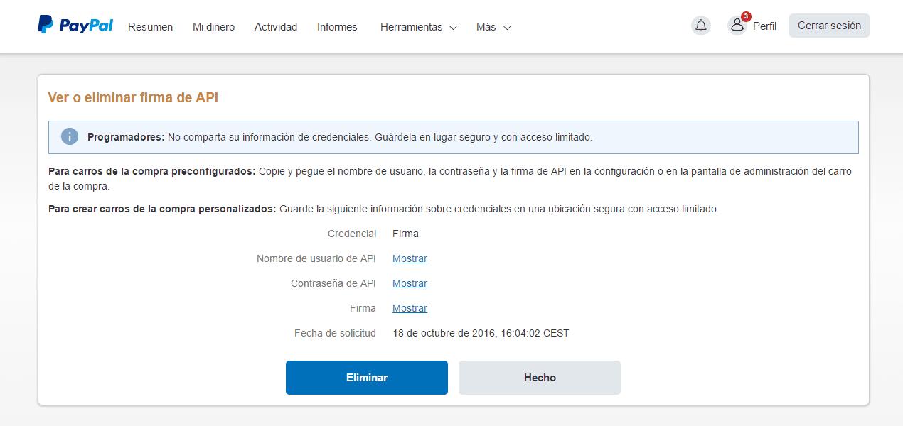 Copiar credenciales Paypal