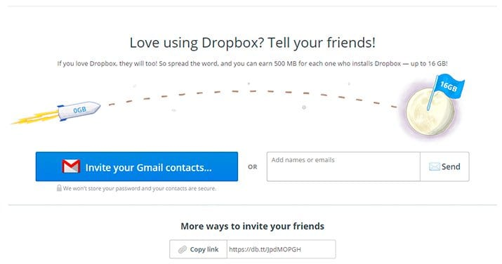 Programa de referral de Dropbox