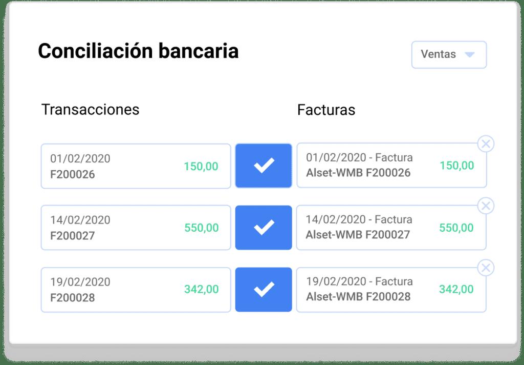 imagen del widget de contabilidad - conciliación bancaria
