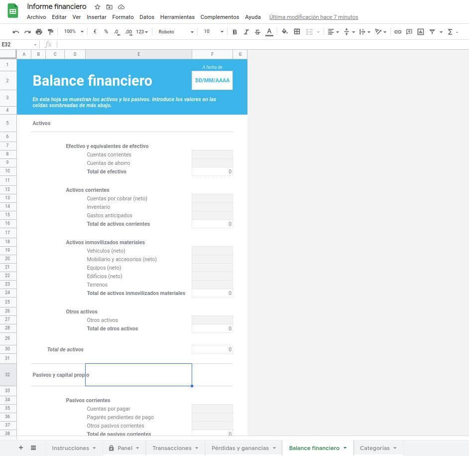 Plantilla de Excel - Balance financiero